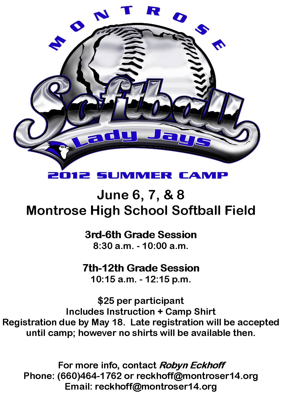 Montrose r 14 schools summer softball camp coming in june for Softball flyers templates